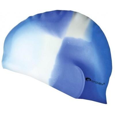 Spokey ABSTRACT-Plavecká čepice silikonová modro -bílá